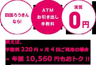 四国ろうきんなら!ATMお引き出し手数料実質0円